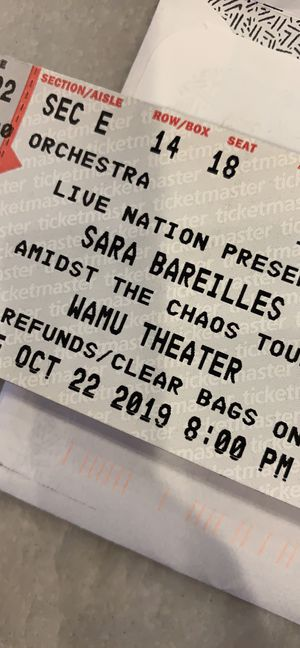 2 tickets to Sara Bareilles - oct 22nd Seattle wa $125 each for Sale in Tacoma, WA