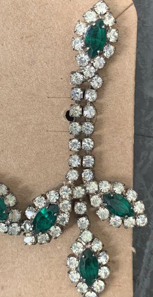 Vintage Diamond Emerald Rhinestone Earrings for Sale in Portland, OR
