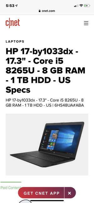 """HP 17-by1033dx 17.3"""" Laptop Computer with charger- Black Intel Core i5-8265U Processor 1.6GHz; 8GB DDR4-2400 RAM; 1TB Hard Drive; Intel UHD G for Sale in Hallandale Beach, FL"""