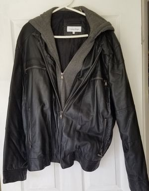 "CK Leather ""hoodie"" Jacket, XXL for Sale in Spring Hill, FL"