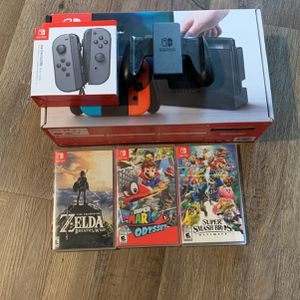 Nintendo Switch + 3 Games + Extras for Sale in Traverse City, MI