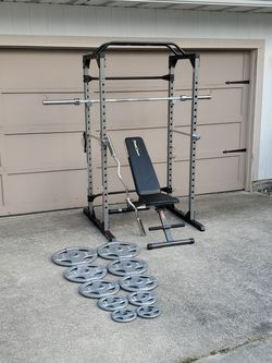 Power Cage Home Gym With Weights And Bars for Sale in Parkland,  WA