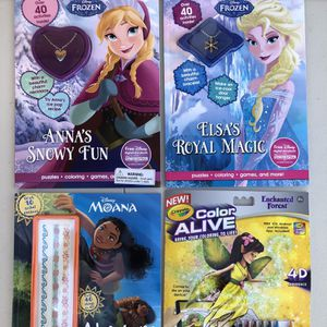 BRAND NEW INTERACTIVE COLORING BOOKS FROZEN, MOANA, DISNEY FAIRIES (TOTAL RETAIL $40+, SELLING ALL FOR $15) for Sale in Corona, CA