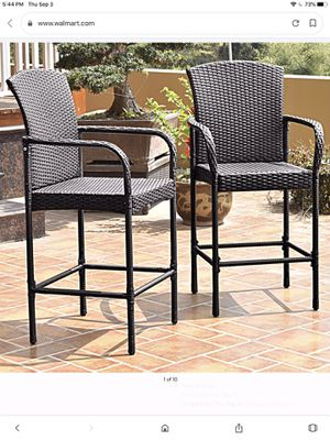 Costway Brand New Set Of Two Wicker OutDoor Bar Stools w/ Arm Rest for Sale in Pomona, CA