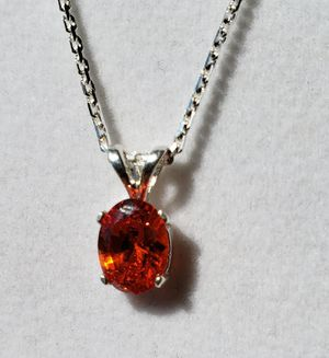 Oval Red Topaz Silver Necklace for Sale in Justin, TX