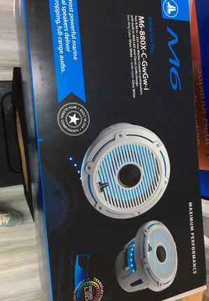 """JL Audio M6-880X-C-GwGw-i M6 Series 8.8"""" marine speakers with built-in LED lighting (Gloss White Classic Grille) for Sale in Wilton Manors, FL"""