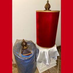 Set 2 Mid Century Red Flocked Velvet Drum Lampshades for Sale in Philadelphia,  PA