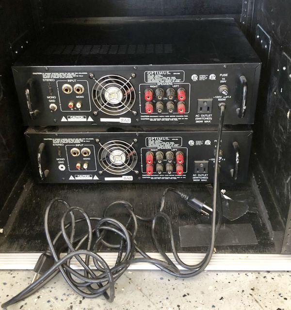 2 Power Amps PA Amplifiers + Hard Case