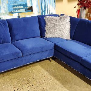 Blue Velvet Sofa Sectional for Sale in Bensenville, IL