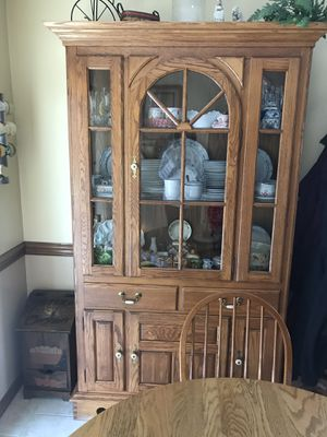 Oak china hutch and table with 6 chairs for Sale in Fredericksburg, VA