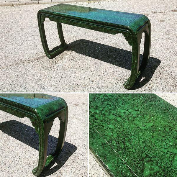 Vintage Faux Malachite Console Table