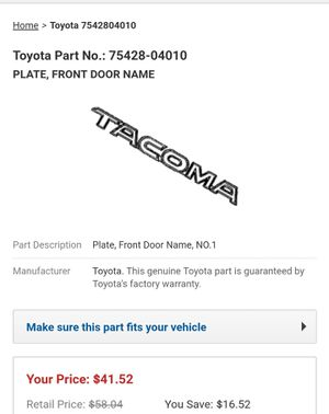 Toyota PLATE, FRONT DOOR NAME for Sale in National City, CA
