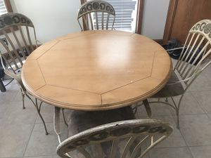 Wrought iron kitchen table and 4 chairs set with 2 bar stools for Sale in Medina, OH