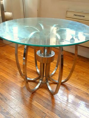 Vintage Mid Century Modern Chrome & Glass Table for Sale in New York, NY