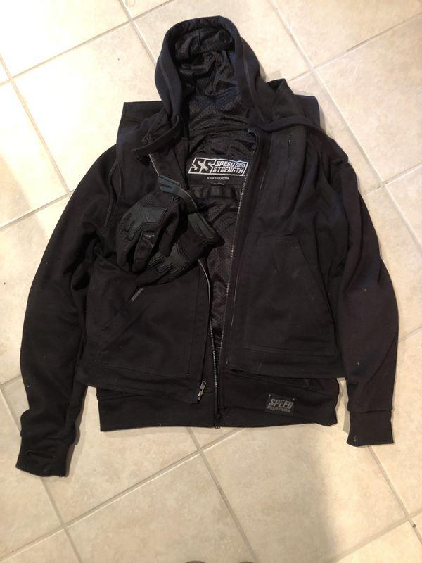 Speed and Strength Black Vest/Hoodie Mens Motorcycle Jacket & Gloves!