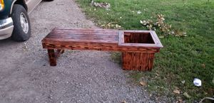 Custom built planter bench burned, stained and polyurethaned $60 for Sale in Saint Joseph, MO