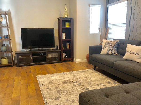 """Sectional Sofa with 46"""" Samsung LCD HDTV, Console and Side Cabinet"""