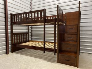 Twin bunk beds with stairs and drawers for Sale in Houston, TX