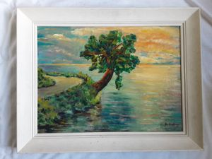 A vintage Impressionist Seascape Oil Painting by J. LaRory (?) for Sale in Tacoma, WA