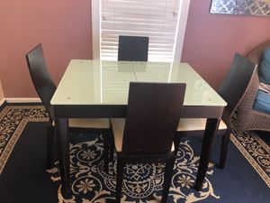 Beautiful wood and glass Adjustable table for sale for Sale in Alexandria, VA