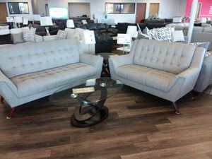 MID CENTURY MODERN GREY TUFTED SOFA AND LOVESEAT for Sale in Mansfield, TX