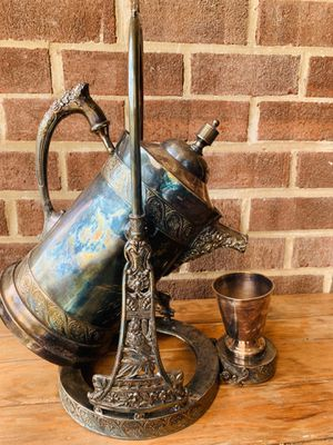 VINTAGE ! Silver Plate Tilting Ice Water Pitcher on Stand W - Cup for Sale in Fairfax, VA