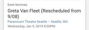 Greta Van Fleet ticket for Sale in Sultan, WA