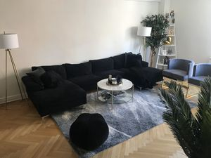 Modern U Shaped Black Velvet Sectional Couch for Sale in New York, NY