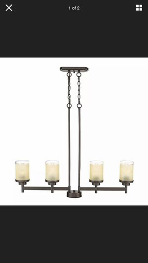 JAZAVA 4-Light Kitchen Island Linear Pendant Light Fixture, Glass w Orb Finish, NEW for Sale in Indianapolis, IN