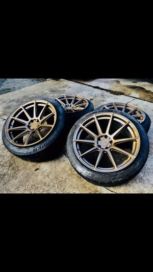 Niche Essen 20 inches gold bronze deep concave rims wheels 5x114.3 20x10.5 all around fit most Honda, Toyota, Hyundai, Mustang, and Nissan. for Sale in Garden Grove, CA