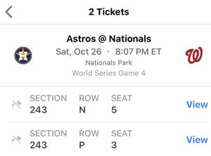 World Series 10/26 game tickets for Sale in Arlington, VA