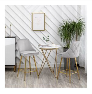 BLACK FRIDAY SPECIAL 🎉🎉 SET OF 2 Silvery tufted barstools diamon tufted stools silver velvet stools with gold legs velvet stools SET OF 2 for Sale in La Habra, CA