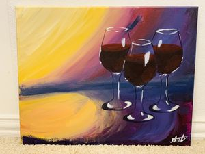Hand Painting Art Wall Decor Wine 🍷 Glasses for Sale in Fort Worth, TX