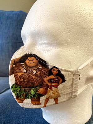 Handmade Masks Disney Princess. Moana , Thinker Bell. 100% Cotton. Reusable. 5 Layers of protection and comfort.Filter . for Sale in Orlando, FL