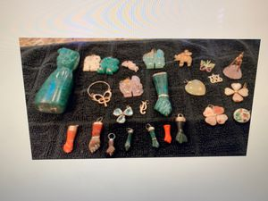 Gold pendants and charms with semi precious stones for Sale in Huntington Beach, CA