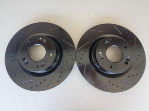 HYUNDAI GENESIS Front Black Drilled-Slotted Brake Rotors for Sale in Corona, CA