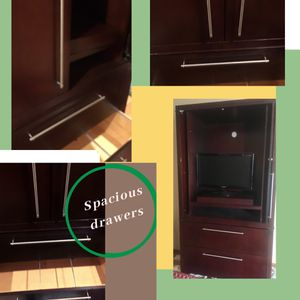 Beautiful Transitional Armoire! dark oak cabinets along with a TV for Sale in Wenatchee, WA