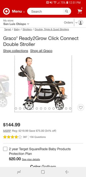 Graco Ready2Grow Click Connect Double Stroller and a Graco Snugride 30 car seat with Base and infant insert for Sale in Arroyo Grande, CA