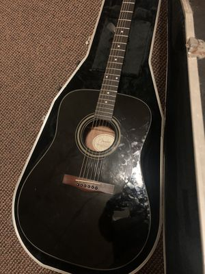 Fender acoustic electric guitar black new strings for Sale in Aurora, IL