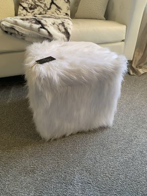 White Faux Fur Footstool for Sale in Renton, WA