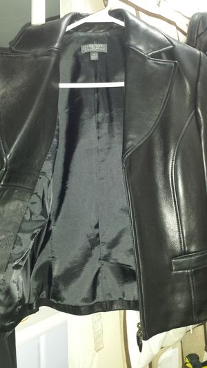 Black Leather Zip- up Jacket for Sale in Fairfax, VA