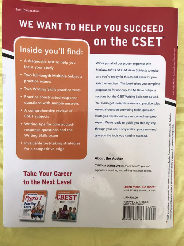 Two CSET Multiple Subject Study Guide Test Prep - Cliffs Notes and  McGraw-Hill for Sale in Buena Park, CA - OfferUp