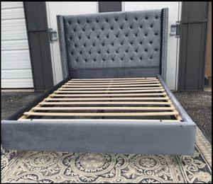 New Adorable FULL size platform bed frame grey velvet for Sale in Upper Arlington, OH