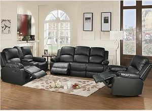 In-stock no credit needed black faux leather recliner sofa loveseat and chair for Sale in College Park, MD