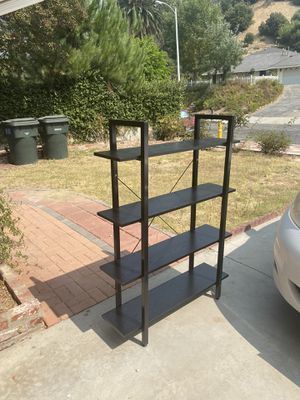 Ladder Shelf, 4-Tier Bookshelf Storage Rack, Living Room Bookcase, Stable Steel Frame, Bedroom, Office, Industrial Design.🌟Color: Black &White for Sale in Hacienda Heights, CA
