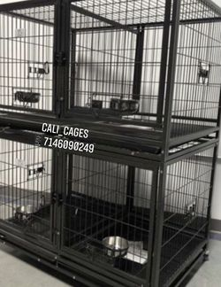 Double Stackable Dog Pet Cage Kennel Size 43 Upper With Divider And Feedin Bowls New In Box 📦 for Sale in Chino,  CA