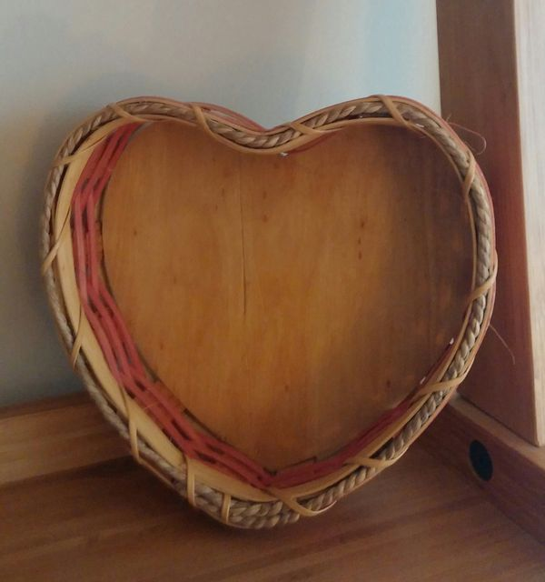 Amish Handcrafted Pink Heart Shaped Wooden Basket