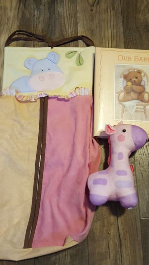 Baby infant girl items crib toy diaper stacker photo memory book for Sale in Hampton, VA