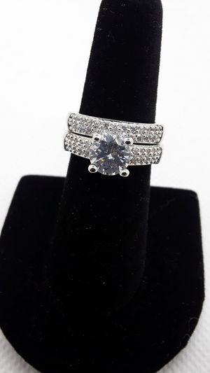 Beautiful 2 ring set large CZ center stone sparkles a lot wedding engagement ring promise ring for Sale in Ontario, CA