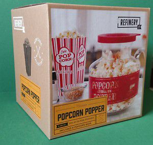 REFINERY 2.25QTR MICROWAVE GLASS POPCORN POPPER w/ 6 POPCORN BAGS . Condition is New in box. for Sale in Great Mills, MD